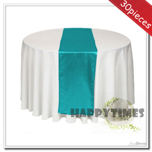 30 pieces 30*270cm tiffany blue table runner for wedding round table decoration satin fabric for wedding party