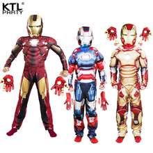 Free shipping,children the avengers Iron man costume with musle stretchy party clothes gloves clothing for kid 5 sizes,3-12 ages(China)