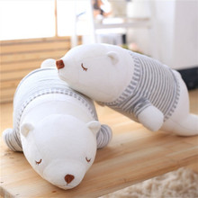 One Piece Cute Polar Plush Toy Sleeping Bear With Stripe Clothes Soft White Bears Pillow PP Cotton Stuffed Dolls Friend Presents