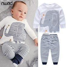 2017 Spring Autumn Baby Boy Clothes Sets Cotton Baby Clothing  Elephant Long Sleeve Tops + Striped Pants Clothing Set FF013