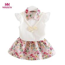 MUQGEW baby girl dress Toddler Infant Baby Girl Fashion Floral Lace T shirt Cotton New Spring Tops+Skirt Outfits Clothes Set(China)