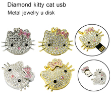 Wholesale 1G 2G 4G 8G 16G 32G 64G U disk.hello kitty U disk crystal necklace creative U disk usb flash drive 100%real capacity(China)