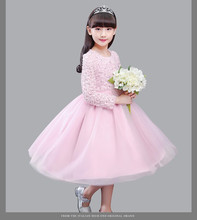 Elegant Girl Dress Autumn long sleeve Fashion White/Pink Bead Girls Party Tulle Flower Princess Wedding Birthday Dresses