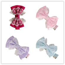 Girl's Hair Clips delicate 2017 girl hair accessories Cute Lace Bowknot Girl Hairpin Child Hair Accessories W80 @(China)