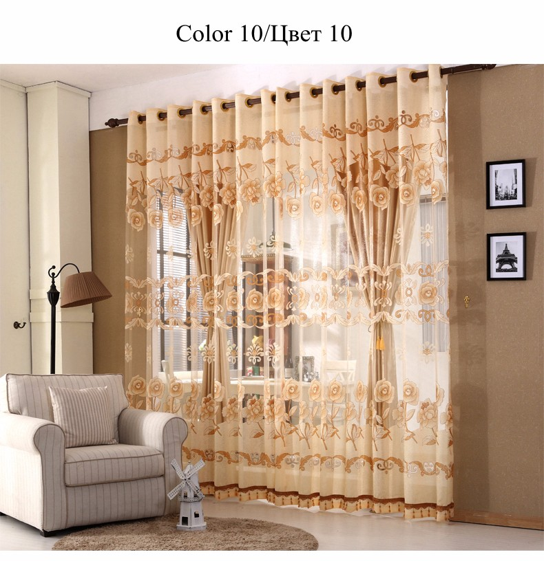European Royal Curtains 11 Colors Embroidered Voile Curtains for Living Room Drapes Crystal Beaded Curtains Sheer (38)