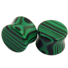 New Malachite Stone Plugs And Tunnels 6-16mm Dilations Ear Piercing Nature Green Stone Kits Stretcher Expander Flesh Tunnel