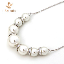 N544 Simple Imitation White Pearl Jewellery Silver Color Necklace Pendant Made with Austria Crystal Wholesale