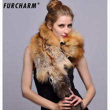 Hot real fur scarf full skin red fox scarfs shawl women soft super big gray silver fox men scarves anime fox head Couple's gift(China)