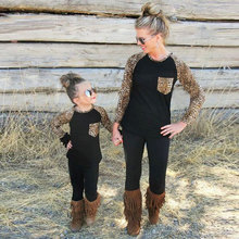 Mother & Kids Children's Clothing Family Matching Outfits 2017 Family T-Shirts Leopard Fashion Full sleeve matching family Tops