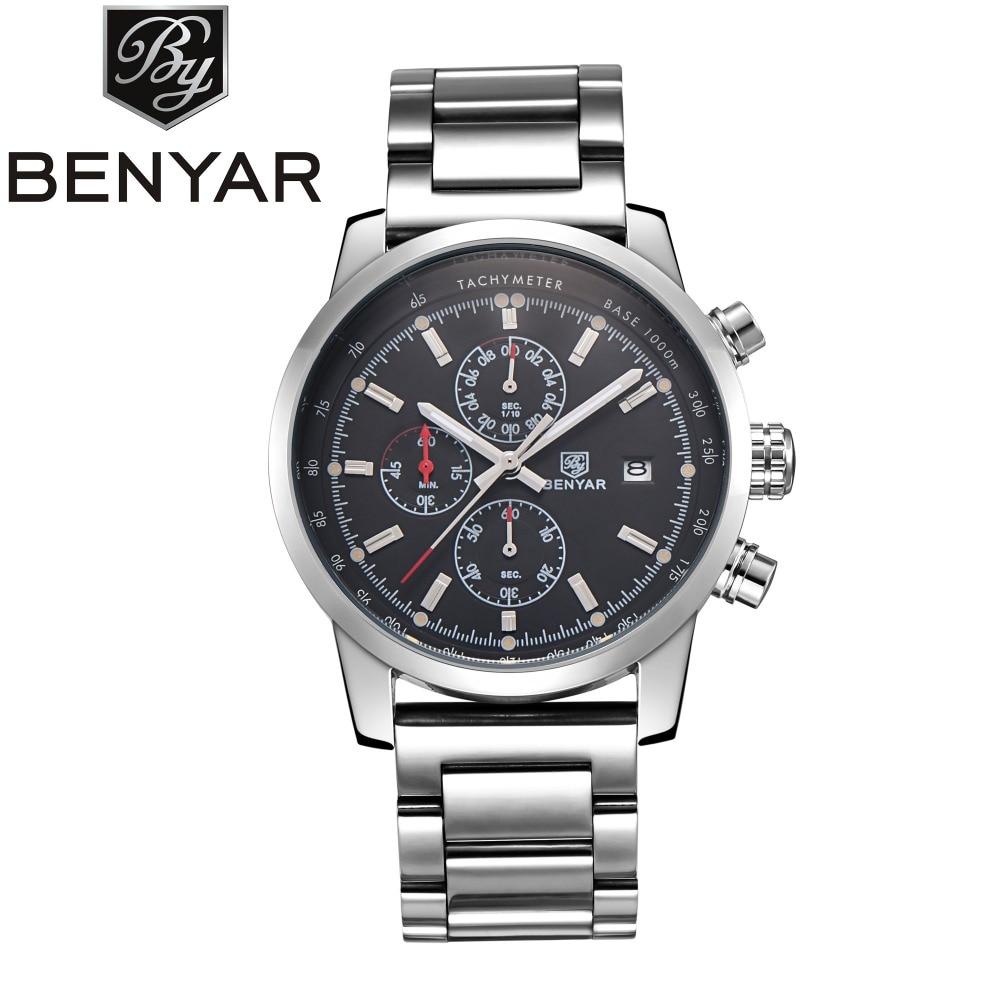 BENYAR Luxury Brand Fashion Chronograph Sport Watches Reloj Hombre Stainless Steel Strap Quartz Military Watch Relogio Masculino<br>