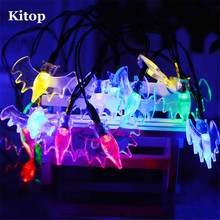 Kitop Solar 4.8M 20leds Bat Fairy string light IP65 Waterproof Indoor/Outdoor decoration for Halloween,Holiday,Christmas etc.(China)