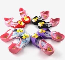 Mini Melissa Gilrs Jelly Sandals Child Princess Crystal Shoes Kids Cut-out Breathable Cartoon Flats/Flat Shoe Cute Beach Sandal