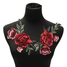 2Pcs/set DIY Clothes Bust Dress Patches Rose Flower Floral Collar Sew on Patch Cute Applique Badge Embroidered Fabric Sticker