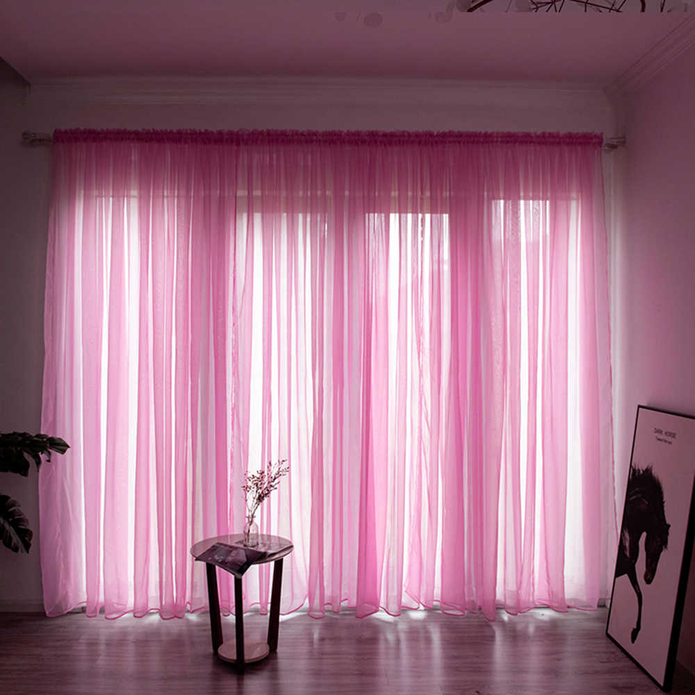 Solid Color Sheer Curtain For Living Room Window String Curtains Bedroom Drape Panel Sheer Tulle Modern Window Treatments