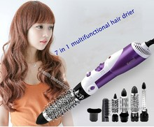 KeMei Professional 7 IN 1 DIY Machine 1000W Hair Dryer Styling Tools Cruls Wavy Straightner With Curly Comb Hair Roller