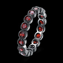 2017 New Promotion Free shipping Black gun color ring red crystal fit Swarovski crystal ring for Women Jewelry fashion Lady gift(China)