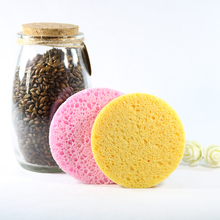 4 Pieces Natural Wood Fiber 8cm Facial Washing Cleansing Sponge Round shape Pink and Yellow Color Face wash makeup Tools(China)