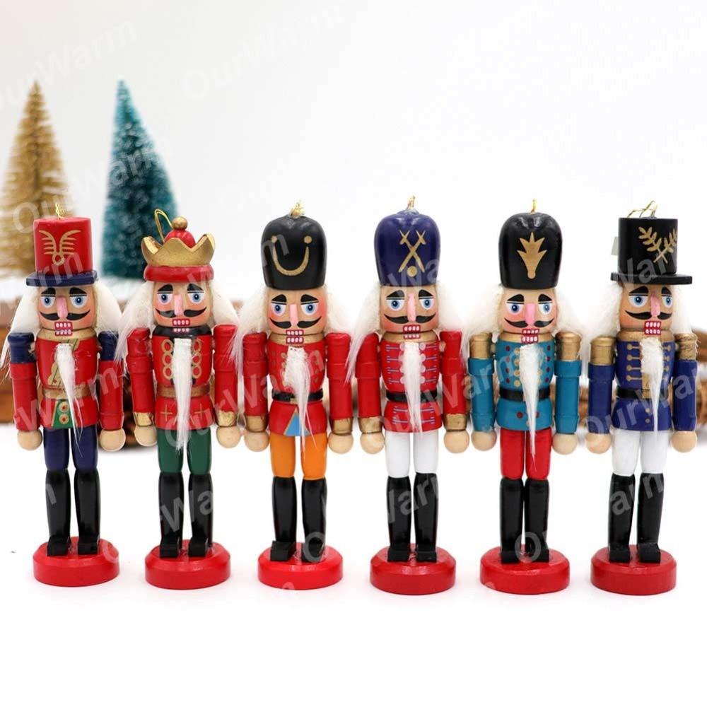 OurWarm 12cm Wooden Nutcracker Christmas Tree Hanging Ornaments ...