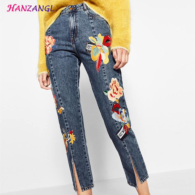 HANZANGL Vintage Floral Embroidery Demin Jeans Pencil Pants High Waisted Cropped 100% Cotton Woman Jeans Front trousers Fork Одежда и ак�е��уары<br><br><br>Aliexpress