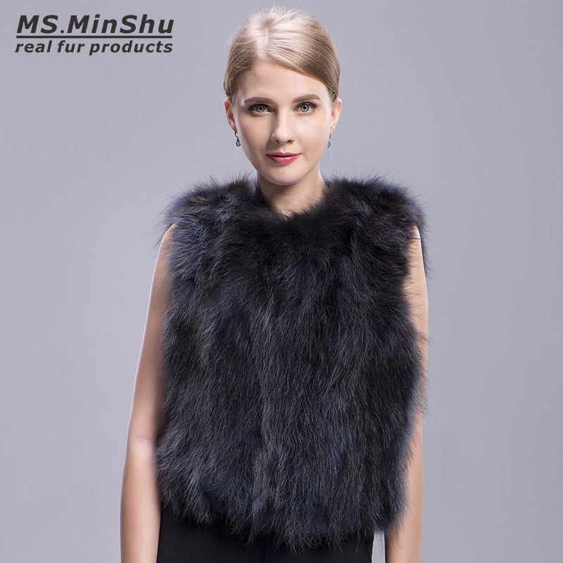 raccoon fur vest grey 5