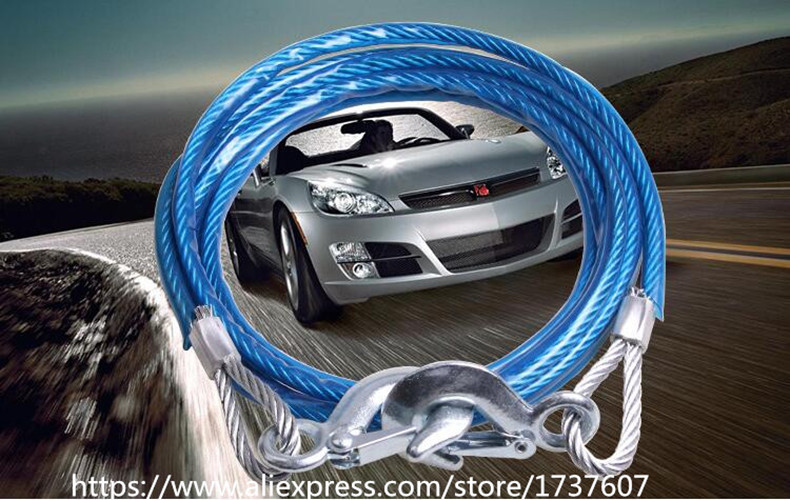 1 set 5 Ton 4m Car Vehicle Boat Steel Tow Strap Rope Capacity Emergency Heavy Duty Towing Ropes(China)