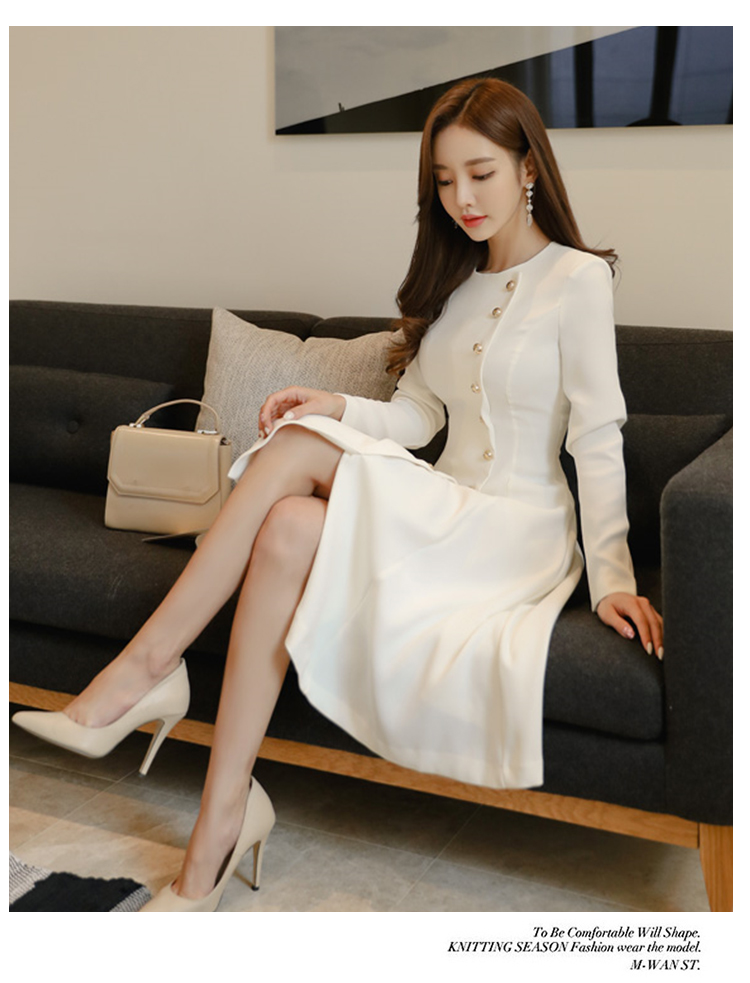 Elegant Dress Women Casual Long Sleeve Dress Office Lady Runway Designers High Fashion Dress 15
