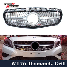 Mercedes W176 Diamonds Grill For Benz A Class W176 2013 - 2015 silver / black