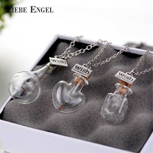 LIEBE ENGEL Heart Shape Glass Wish Bottle Dandelion Necklace Pendant Choker Statement Necklace Vintage Chain Collares Jewelry