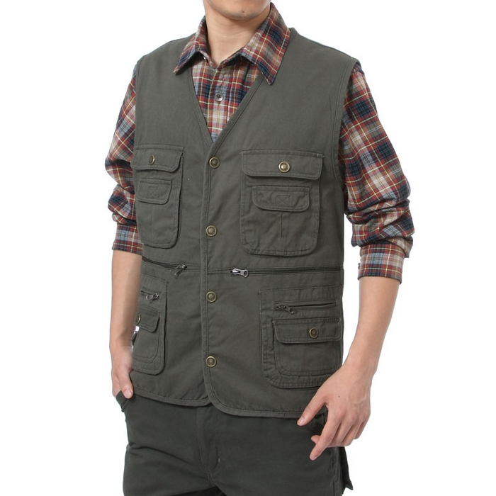 Summer waistcoat water washable 100% cotton vest multi-pockets photography vest Hunting vest Mens Outdoor Fishing Vest