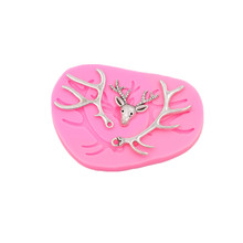 Deer antlers candy cakes soft silicone molds handmade chocolate craft dough desserts decorations DIY kitchen baking gadgets(China)