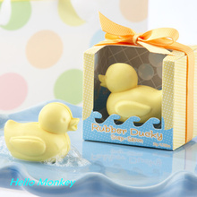10Pcs Home Party Transparent Boxed Yellow Duck Soap baby shower favors For Bridal Baby Shower wedding souvenirs For Giveaway(China)