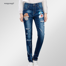jeans women large size beggar torn tight elastic mid waist cowboy stretch hole Slim denim trousers decoration printing pig head