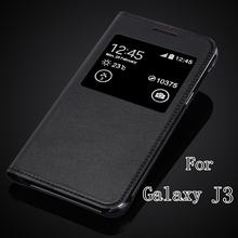Top Quality For Samsung Galaxy J3 J300F J300 J3000 Luxury Classic Ultra Slim PU Leather Window View Flip Cover Case(China)