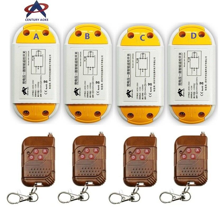 AC85V 110V 220V 240V 1CH 10A RF Wireless Remote Control Switch System teleswitch 4 A1 transmitter &amp; 4 receiver Smart Home Switch<br>