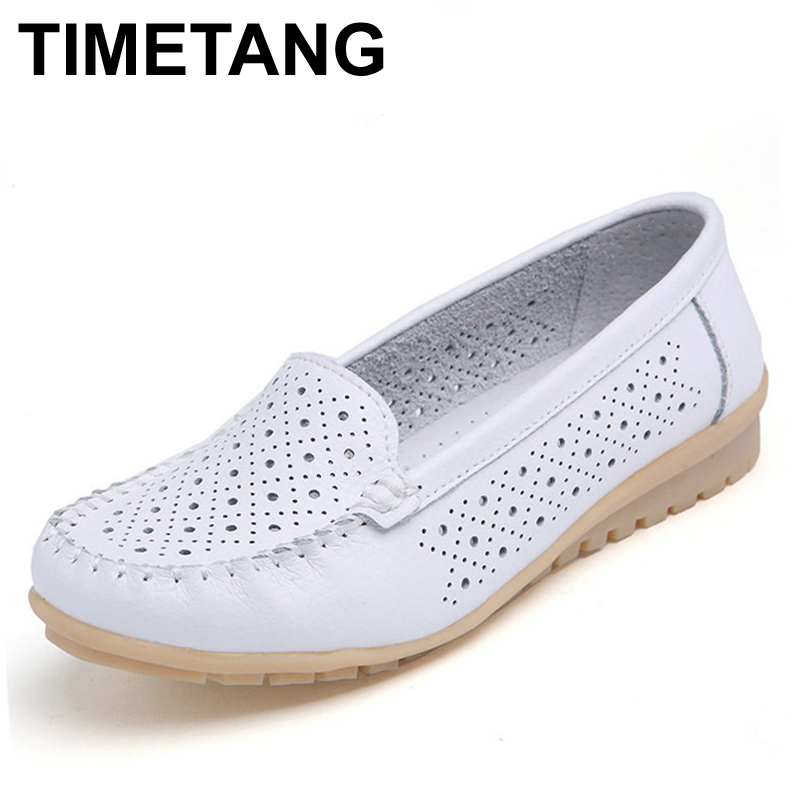 TIMETANG Spring women flats shoes women genuine leather shoes woman cutout loafers slip ballet flats ballerines flats