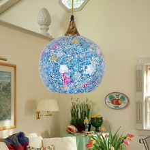 Tiffany style glass shade pendant lightshell aisle dining room pendant lamp restaurant creative single-head study DF64(China)