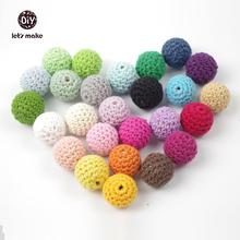 Let's make 50pc/lot wooden Crochet Covered Beads  Colour Mix Ball 16mm For Baby Teething Diy  Necklace Mini Crochet Bead