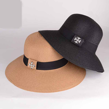 8pcs free shipping/2016A-541 only black pink beige solid big brim  straw sunshade hat, sand beach hat, ms summer hats wholesale