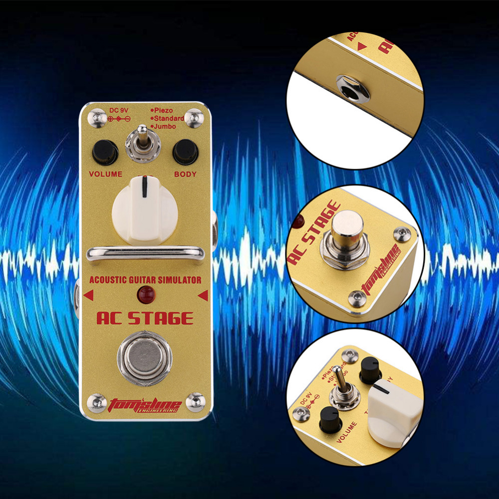 Tomsline AAS-3 AC Stage Folk Guitar Pedal Acoustic Guitar Simulator Mini Single Electric Guitar Effect Pedal With True Bypass<br>