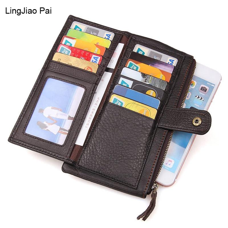 LingJiao Pai Genuine Leather Clutch Wallets Travel Male Purse Long Wallet  Men Bag Card Holder Purse Phone Holder Handbag<br>