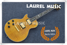 First Class Highly Figured Maple Supreme Guitar LP Left Handed Body Globe Logo With Flower Inlay Custom Available