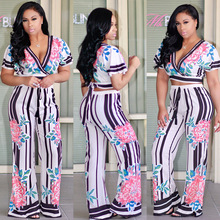 2017 New print 2 piece set women club wear clothing sexy v neck crop top and vertical striped pant short sleeve 2 piece outfits