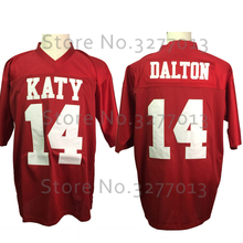 2018 Cheap America Football Jerseys #14 Andy Dalton Jersey Katy High School Red Throwback Jersey Retro Stitched Mens Shirts(China)