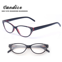 New Brand Women Diopter Glasses Spectacle Frame Cat Eye Eyeglasses Spring Hinge Diamond Reading Glasses Eyewear Oculos