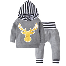 2016Autumn Baby Boys Outfits Newborn Baby Boy Clothes Hooded Tops T-Shirt Striped Pants 2PCS Outfits Set Animal deer Print Hood(China)