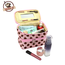 Cosmetic Handbag Women Dots Makeup Case Double Layer Cosmetic Bag Travel Portable Zipper Storage Bags With Mirror(China)