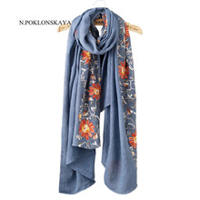 Big Size Floral Embroidered Scarf Women Hijab Autumn Warm Cotton Linen Scarves and Wraps Lady Long Embroidery Shawl 180*90CM