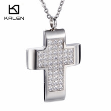 Kalen Cheap Necklace&Pendant Stainless Steel CNC Stone Rhinestone Pendants China Supplier Wholesale For Unisex/Women/Men(China)