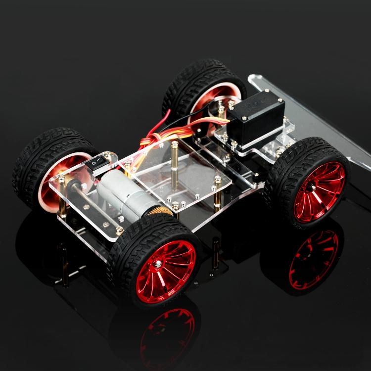 Intelligent vehicle chassis steering gear steering 4WD car rear drive metal motor to find light seeking car<br>