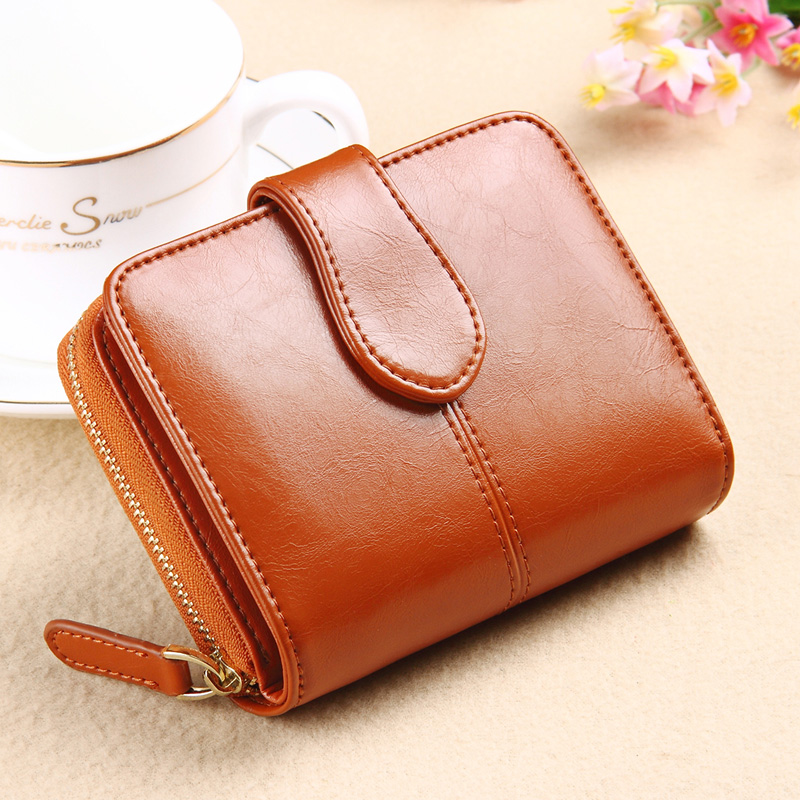 2018 New Ladies monedero Cowhide short Women Wallet Genuine Leather Womens Design Fashion Small womens Purse<br>